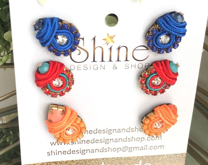 Studs. Small soutache earrings. Tiny earrings. Handmade.