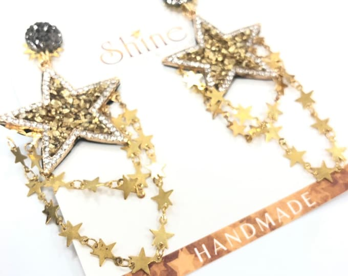 Star earrings with star chain