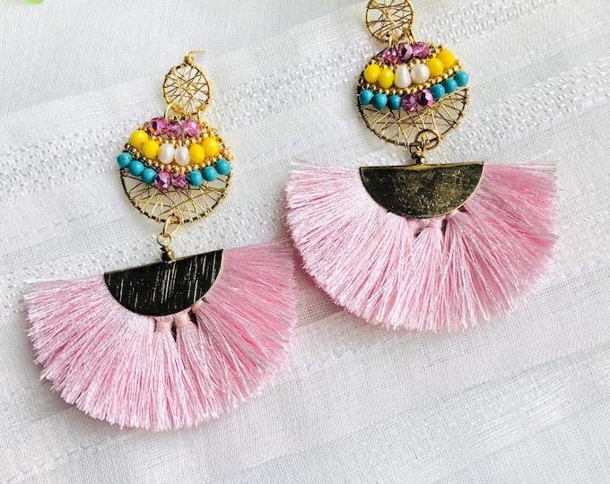 Beaded wire tassel earrings, pink tassel earrings, turquoise dreamcatcher earrings, statement gemstone earrings, wire wrapped earrings