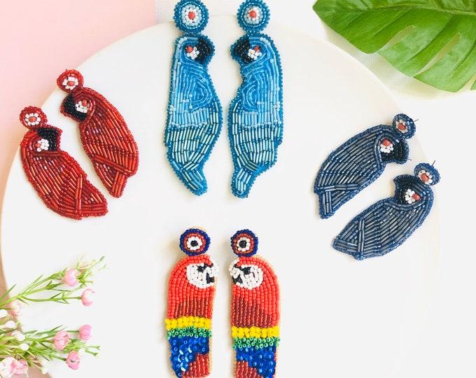 Handmade Beaded Parrots earrings, birds earrings, Statement earrings, Stunning earrings, wanderlust earrings, funny earrings
