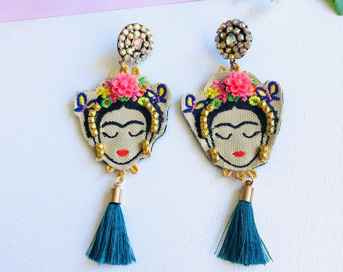 Frida Kahlo earrings, Teal tassel earrings. Handmade Statement earrings, bold earrings, frida kahlo jewelry