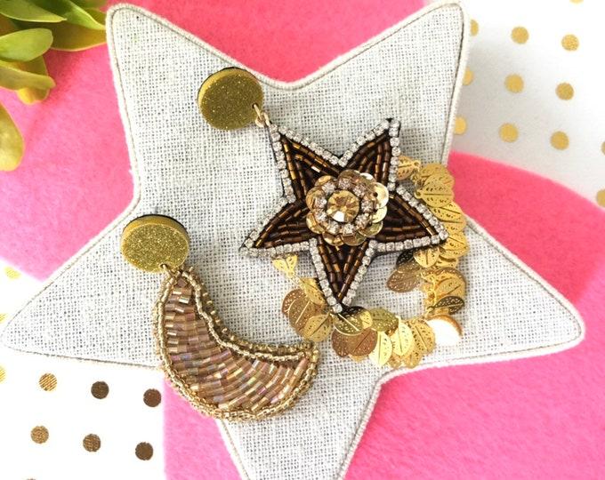 Asymmetric moon and star earrings