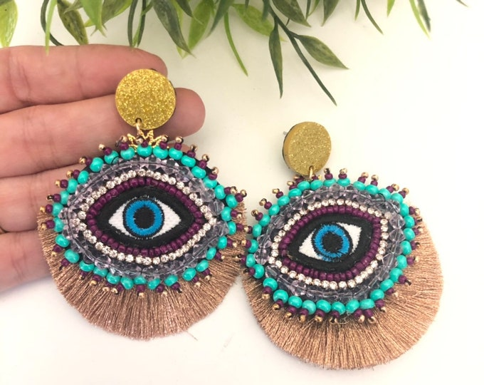 Handmade evil eye beaded earrings. Blue earrings. Statement earrings