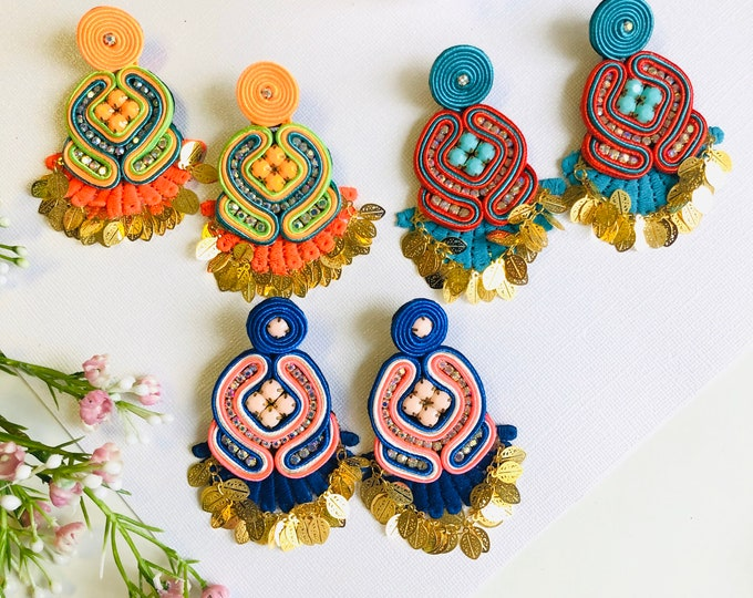 Handmade Soutache earring, soutache jewelry, Statement earrings, stunning earrings, wanderlust earrings, soutache earrings