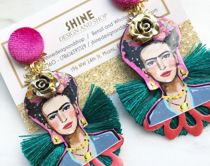 Frida Kahlo Earrings, Handmade earrings, Statement earrings, Bold earrings, teal Tassel earrings, Frida jewelry