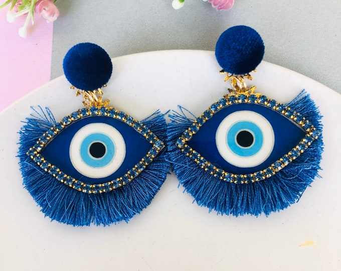 Handmade Evil eye earrings, Statement earrings, Blue tassel earrings, dainty evil eye earrings, stunning earrings, blue evil eye earring