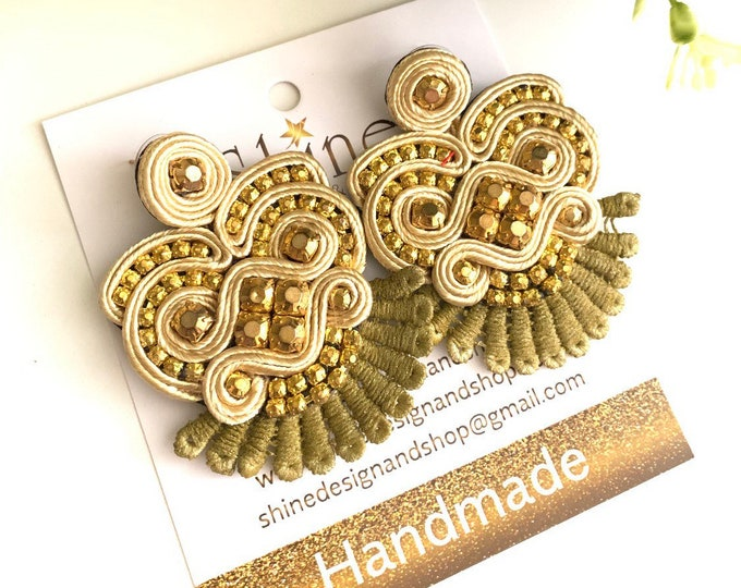 Soutache earrings, handmade earrings, Gold earrings, Statement jewelry, soutache jewelry, crystals earrings, shiny earrings