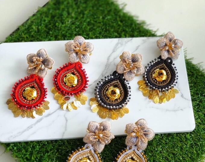 Soutache earrings. Handmade. Statement earrings. Flower earrings.