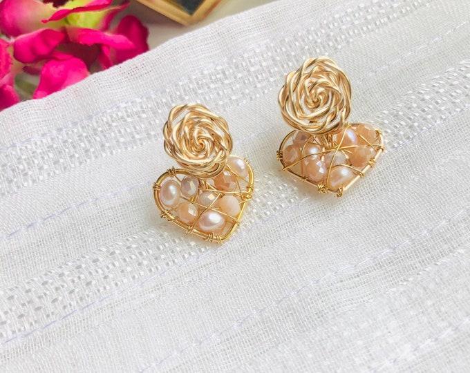 Freshwater pearl beaded dreamcatcher earrings, handmade small pearl earrings, wire wrap real pearl earrings, heart shaped earrings,