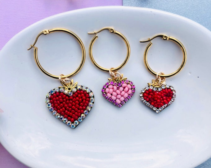 Red heart hoop earrings, dainty hoop earrings, hoop earrings, with charm, pink heart hoops, conch hoop, stainless steel hoop earrings