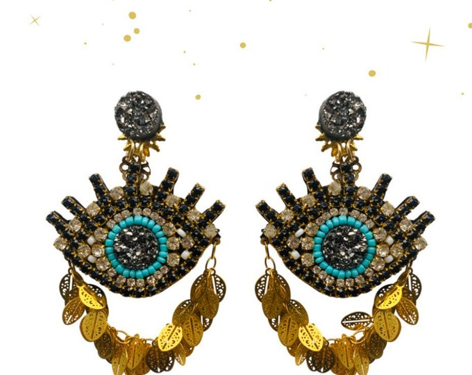 Luxury evil eye, evil eye earrings , light earring , statement earrings, handmade earrings.