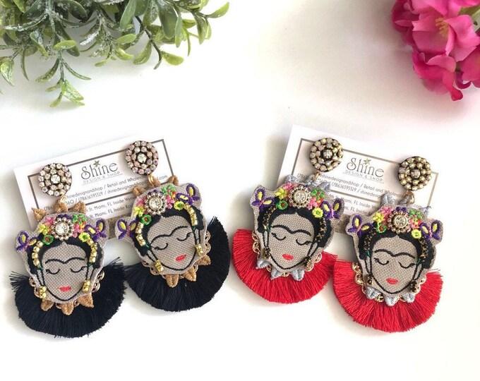 Frida Kahlo earrings, Handmade earrings, tassel earrings, Statement earrings, frida jewelry, bold earrings