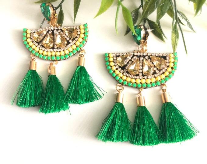 Green Lemon earrings. Handmade earrings. Statement. Summer earrings.