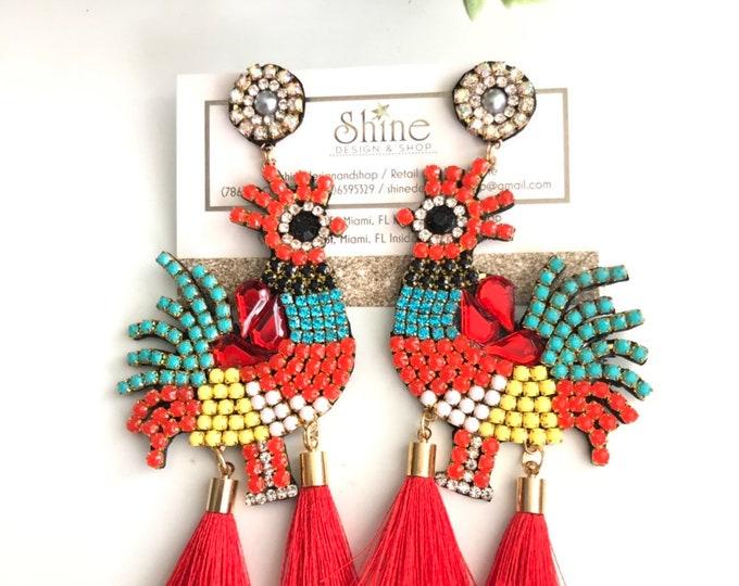 handmade rooster earrings