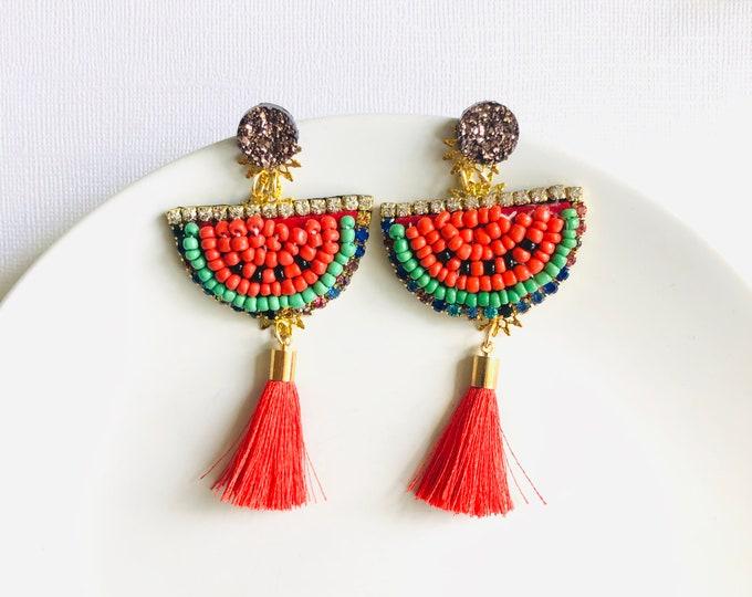 Watermelon earrings, fruit earrings, watermelon slice earrings, tassel earrings, funny earrings, statement summer earrings, quirky earrings