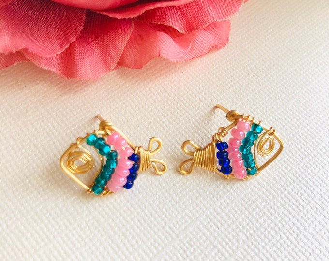 Wire wrapped fish stud earrings, unique stud earrings, dainty stud earrings, gold earrings studs, handcrafted wire jewelry