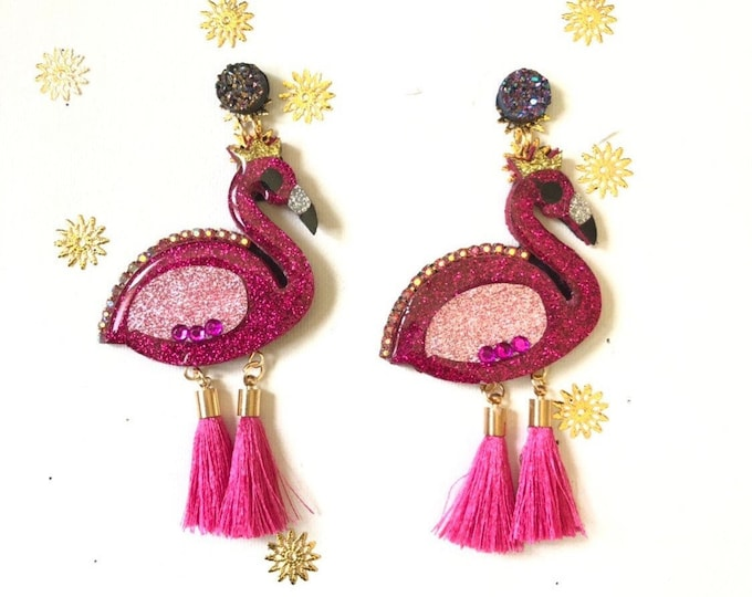 Flamingo earrings , bird earrings, Tropical earrings, Handmade Statement earrings, Summer earrings
