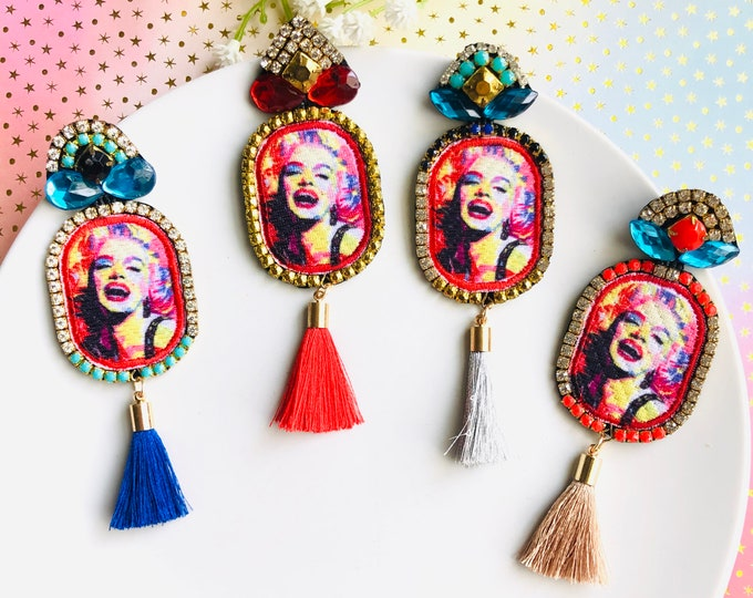 Marilyn Monroe Earrings, Statement Earrings,  colorful tassel earrings, 1950s vintage earrings, quirky earrings, wanderlust jewelry