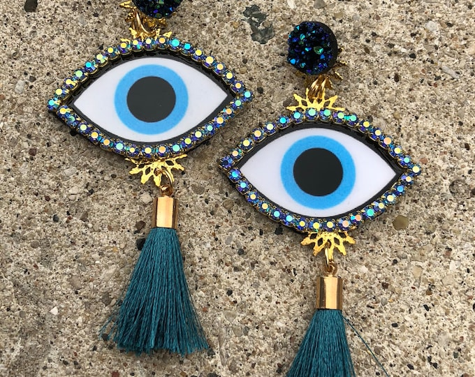 Evil eye earrings. Handmade earrings. Statement earrings. Blue tassel earrings.