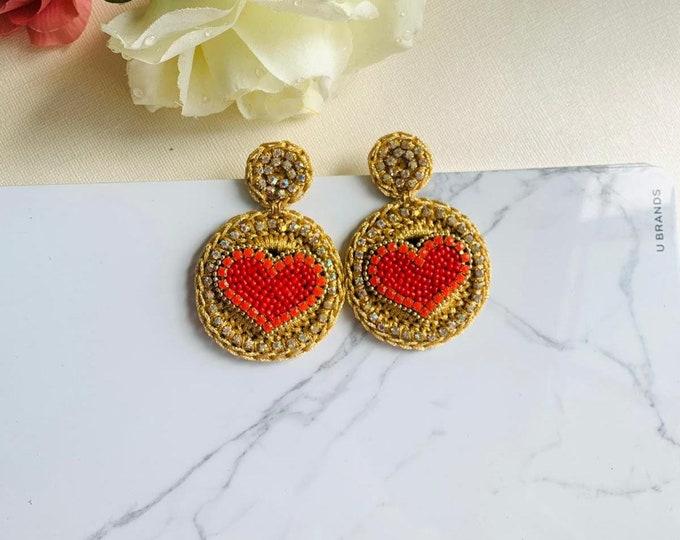 Red heart crochet earrings, handmade Statement earrings, big heart shaped earrings, edgy earrings, oversized earrings