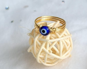 Copper Gold Stacking Rings Evil Eye Wire Wrapped Ring Gift for Her Silver Ring Protection Ring Boho Handmade Jewelry Boho Jewelry