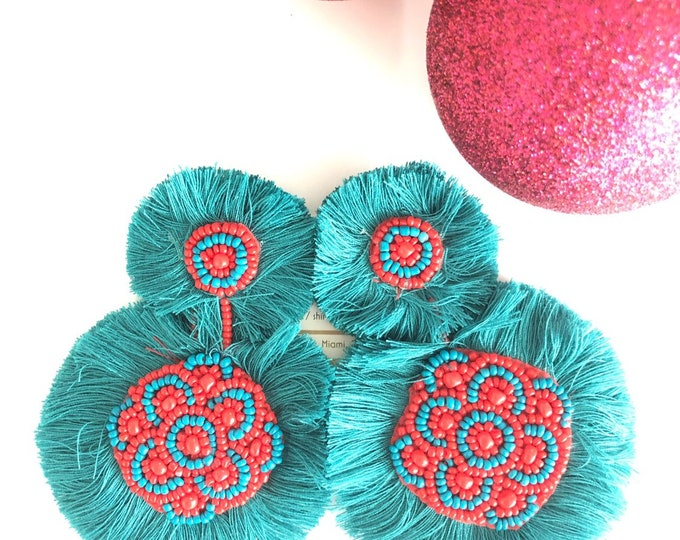 Handmade beaded large earrings