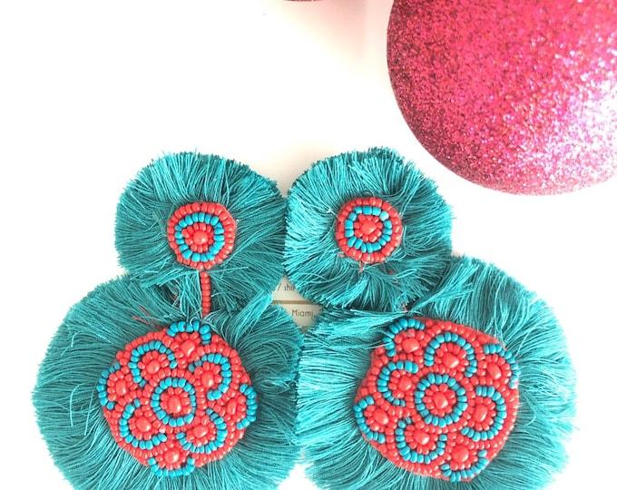 Handmade beaded large earrings
