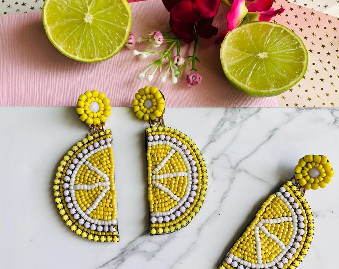 Handmade Lemon Earrings, lemon slice earrings, fruit earrings, bold earrings, statement earrings for summer, funny earrings