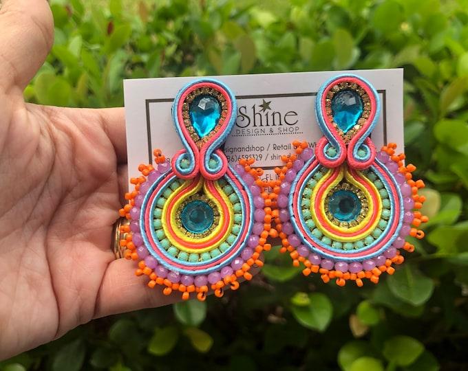 Soutache earrings. Beaded earrings. Handmade. Statement. Multicolor earrings.