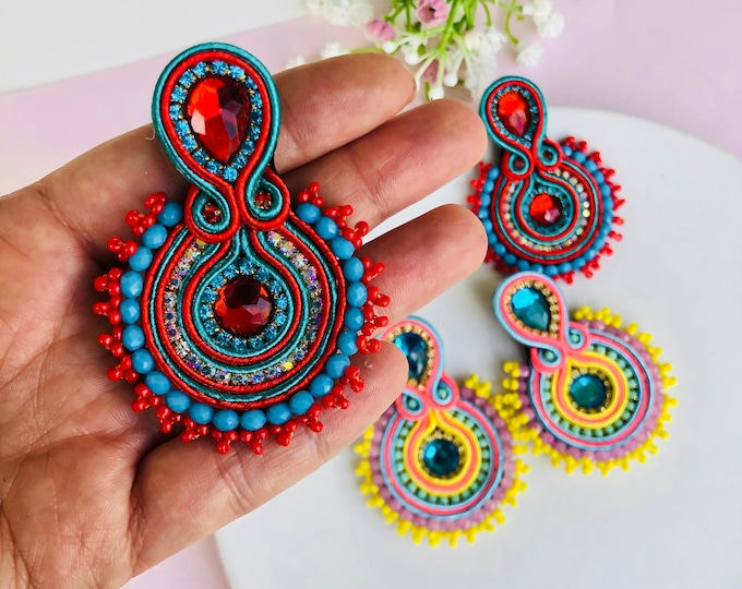 Beaded Soutache earring, statement earrings, handmade soutache jewelry, stunning earrings, wanderlust jewelry, Red soutache earrings