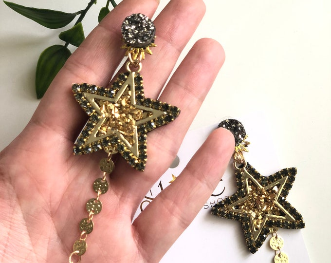 Stars earrings. Handmade. Statement. Galaxy earrings. Gold plated earrings.