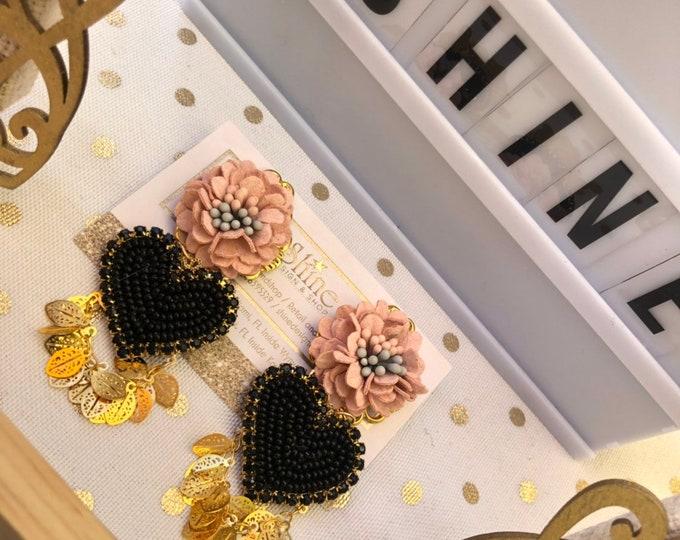 Handmade hearts and flowers earrings