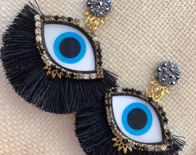 Handcrafted evil eye earrings