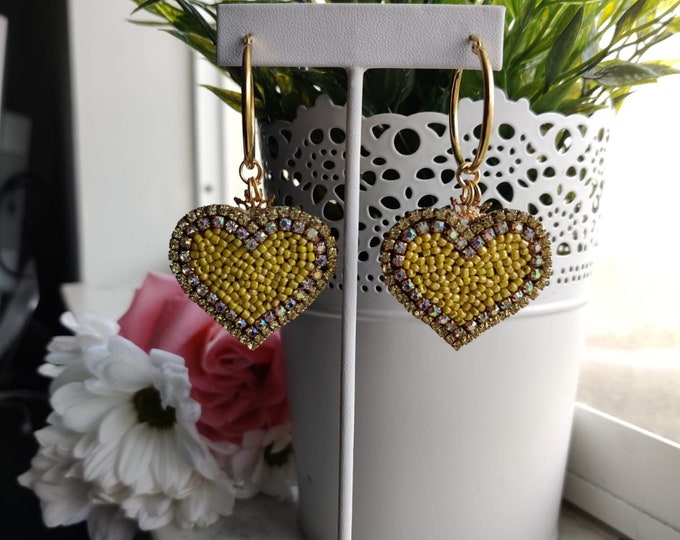 Yellow  Heart Earrings. Hoops. Heart hoops. Handmade. Statement.