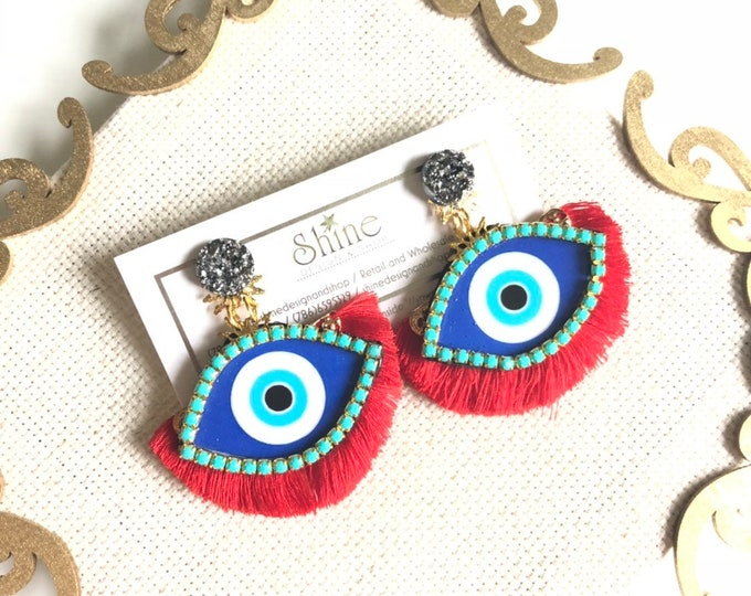 Handmade evil eye fan tassel earrings
