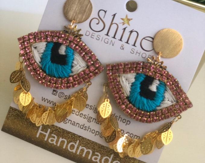 Hand  embroidered evil eye earrings