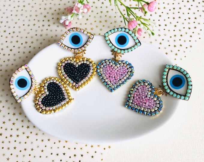 Evil eye earring, pink heart earrings, Handmade Statement earrings, stunning earrings, dainty evil eye earrings, black heart earrings