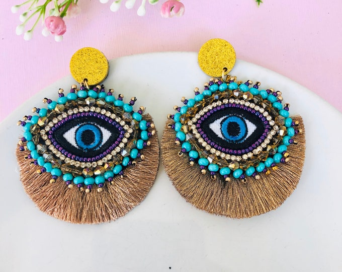 Beaded Evil eye earring, handmade evil eye earrings, statement earrings, gold tassel earrings, stunning earrings, funny earrings