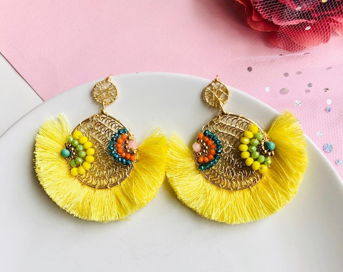 Wire Tassel Earrings, wire wrapped earrings, yellow tassel earrings, statement earrings, delicate earrings dangle, beaded fringe earrings