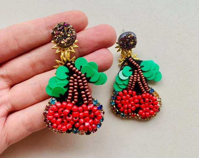 Cheeries. statement earrings