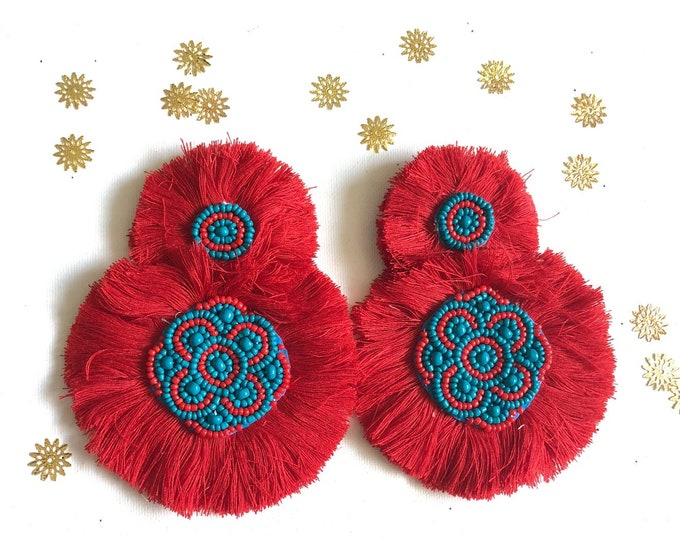 Handmade red Fluffy earrings