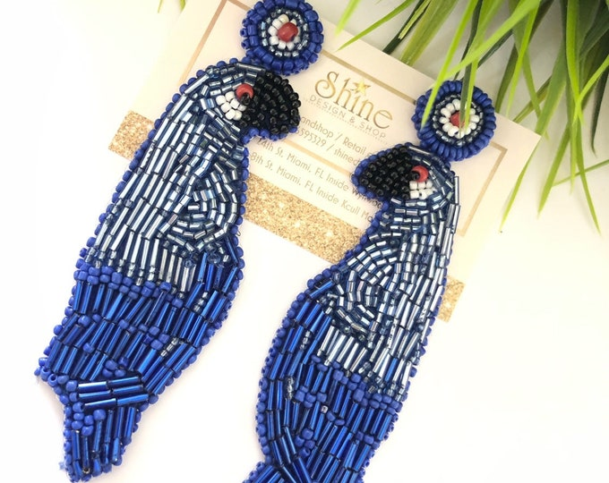Handmade parrot earrings (blue and red)