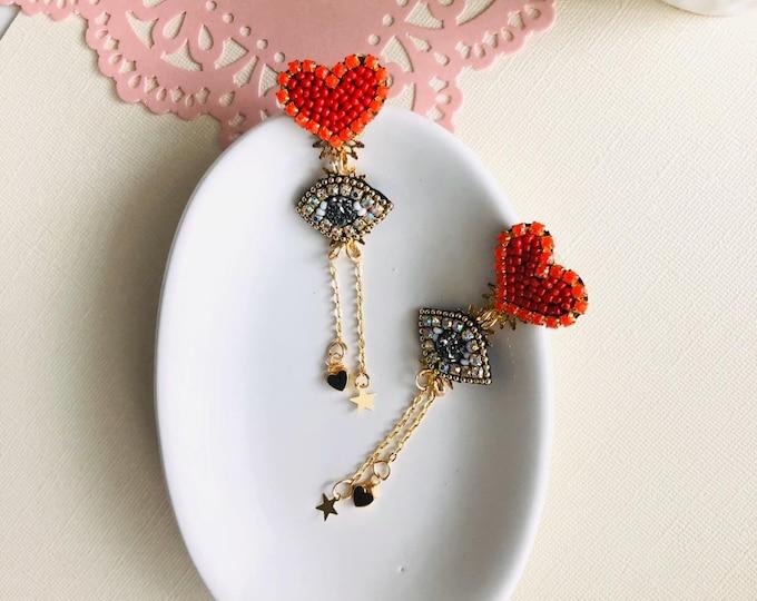 Handmade earrings. Heart earrings. Evil eye earrings. Gold plated earrings. Statement earrings