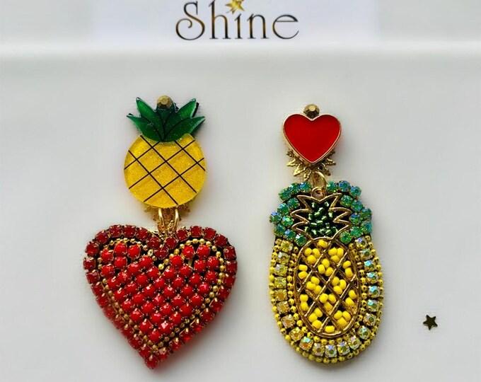 Asymmetric Pineapple and hearts earrings