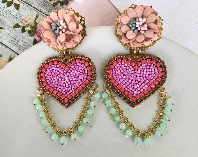 Pink heart earrings, handmade statement earrings, seed bead earrings, Big heart earrings, stunning earrings, wanderlust jewelry
