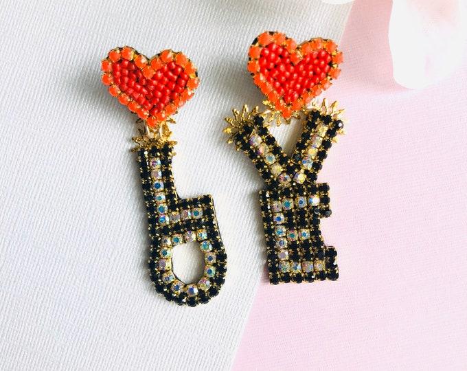 Love letter earrings, small Heart earrings, mismatched earrings, Statement earrings, stunning earrings, asymmetric earrings