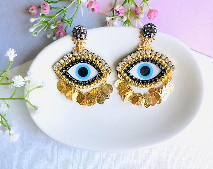 Evil Eye earring, handmade statement earrings, protection earrings, oversized earrings, stunning earrings, evil eye earrings