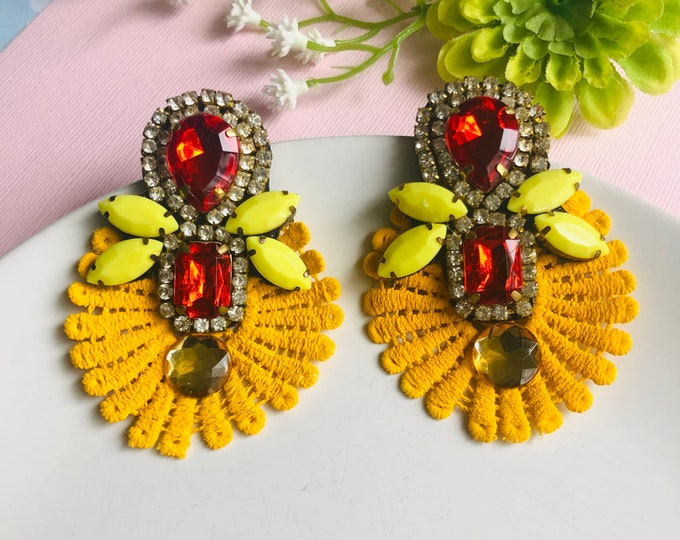 Red lace earrings, yellow chandelier earrings, handmade statement earrings, stunning earrings, bohemian earrings, edgy earrings