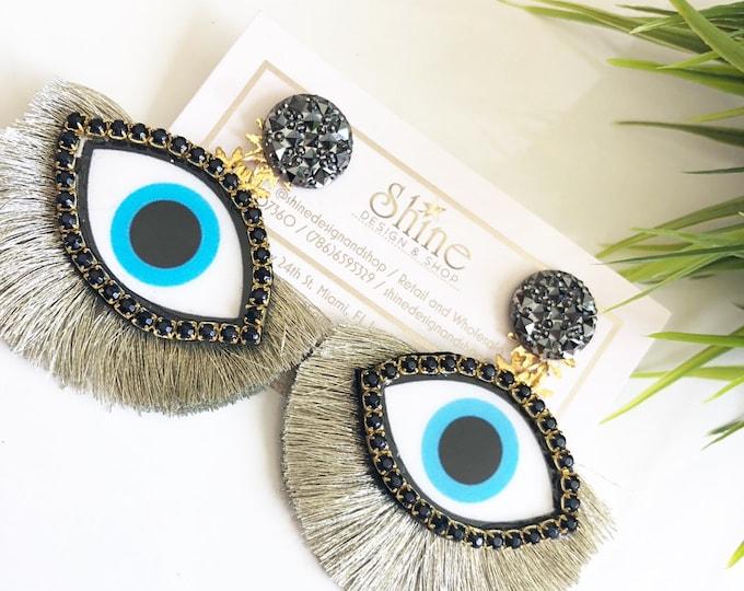 Evil eye earrings. Tassel earrings. Statement earrings. Handmade earrings.