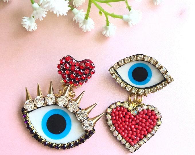 Evil eye earrings. Heart earrings. Asymmetric earrings. Statement earrings. Handmade